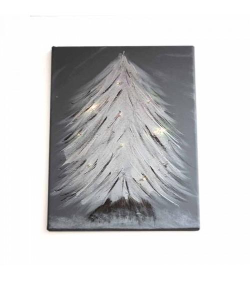 Toile sapin illuminé 35x27cm